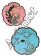 LOT DE DEUX PLATS en bronze et émaux cloisonnés polychromes, de contour polylobé, l'un sur fond bleu tendre, l'autre sur fond rose p...