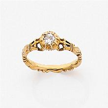 Bague commémorative en or jaune 14K ciselé ornée d'un diamant en chaton