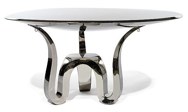 Guillaume pi chaud n en 1968 table basse galet 2013 - Table basse pied inox ...