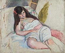 Jules PASCIN (1885-1930) Oil on panel signed and dedicated