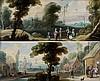 École FLAMANDE du XVIIème siècle, entourage de Jasper Van Der LAANEN Paysage animé de personnages Entrée d'un village animé de perso...