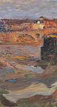 HENRI MARTIN (1860-1943) Pont à Toulouse, avec bateau lavoir Huile sur toile Signée en bas à droite  Oil on canvas Signed lower righ...