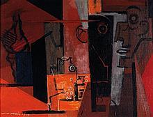 Louis MARCOUSSIS (1878-1941) Composition au visage et au coquillage, 1939 Huile sur toile Signée et datée en bas à gauche  Oil on ca...