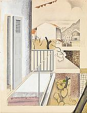 ALFRED RETH (1884-1966) Le balcon, 1927 Gouache, aquarelle et crayon sur papier Signée et datée en bas à droite  Gouache, watercolou...
