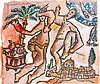 THÉO TOBIASSE (1927-2012) LES DANSEURS DE JÉRUSALEM Gouache sur papier Titrée en haut à gauche Signée vers le bas à droite  Gouache ...