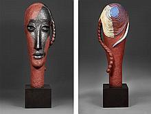 Jean Lambert-Rucki (1888-1967) Tête à la tresse (Grand modèle), 1937 Tête à la tresse (Grand modèle), 1937 Épreuve en bronze polychr...