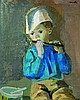 ƒRaymond Kanelba (1897-1960) Le petit flûtiste   Oil on canvas Signed upper right  - 27 x 21 5/8 in