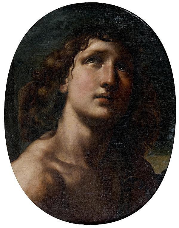 Attribuéà Domenico Maria Canuti (1620 - 1684) David Toile ovale mise au rectangle postérieurement 51 x 41 cm
