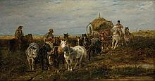 Adolf SCHREYER  (Francfurt 1828- Kronberg im Taunus 1899)  Cosaques et leurs chevaux Toile 59,5 x 111,5 cm Signée en bas à gauche : ad