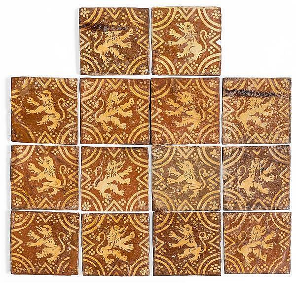 suite de 14 carreaux de pavement en terre cuite verniss e bi. Black Bedroom Furniture Sets. Home Design Ideas
