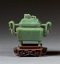 A jade censer and cover, China, 20th century. L. 4 15/16 in.