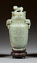 A jade vase and cover, China, 20th century. H. 7 1/4 in.