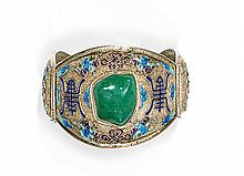 A silver, enamel and jadeite bracelet, China, 20th century. W. (gross) 0.12 lb.