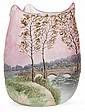 LEGRAS Petit vase pansu à corps triangulé, formant pointes pincées à chaud, en verre jaspé turquoise et blanc à la base et rose et t...