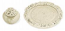 Auguste DELAHERCHE (1857-1940 - Small enamelled porcelain ointment pot