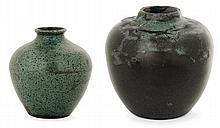Auguste DELAHERCHE (1857-1940) - A small potbellied enamelled stoneware vase