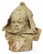 SAINT-AMAND EN PUISAYE - Enamelled stoneware sculpture shaping a child bust
