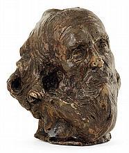 Émile GRITTEL (attribué à) An enamelled stoneware expressive old man head