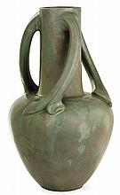 Alphonse CYTERE (1851-1941) & RAMBERVILLERS - A large baluster enamelled stoneware vase with three vegetable handles