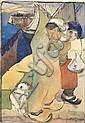 JOSEPH LACASSE (1894-1975) COUPLE DE PÊCHEURS ET LEUR ENFANT, 1931 Aquarelle sur papier Signée et datée