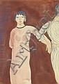 ƒ MINA LOY (1882-1966) FILLE EN ROBE ROUGE, 1913 Aquarelle et crayon sur papier Signée et datée en bas à droite 34 X 25,3 CM
