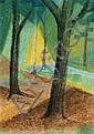RENÉE MENDES FRANCE (1888 - 1985) SOUS BOIS Pastel sur papier Signé des initiales en bas à droite 17 X 10 CM