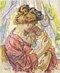 JEAN MISCESLAS PESKÉ (1880-1949) MÈRE ET SON ENFANT Pastel sur papier Signé en bas à gauche 57,5 X 47,5 CM
