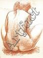 ANTONIUCCI VOLTI (1915-1989) JEUNE FEMME DE DOS Sanguine sur papier Signée en bas à droite 78 X 56 CM