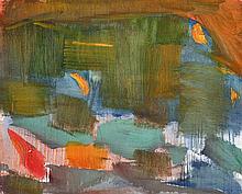 Olivier Debré (1920-1999) Paysage orange et vert, 1960 Oil on canvas Signed, tilted and dated on the reverse 31 7/8 x 39 3/8 in