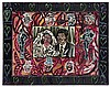 Robert Combas (né en 1957) Les mariés Mixed media and collage on canvas Signed lower right In artist's painted frame 38 1/4 x 29 7/8 in