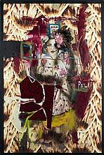 ƒJulio Galán (1958-2006) Joy, 1998 Oil and collage on canvas Signed and dated 98 lower right 70 1/4 x 47 1/4 in