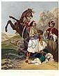 HORACE VERNET (1789-1863) LE GIAOUR VAINQUEUR D'HAFSAN (HASSAN) Gravure rehaussée d'aquarelle signée dans la planche et datée 1827, ...