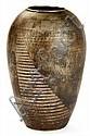 JEAN DUNAND (1877-1942) Vase ovoïde en dinanderie de maillechort et étain, à bordure ourlée, à décor de motifs géométriques formant ...