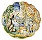 Castel Durante Coupe crespina à décor polychrome a istoriato représentant la mort de Lucrèce, devant un palais, son père, son mari e...