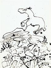 Jean Dubuffet (1901-1985).Terrain au cheval I, 1952. ndia ink on paper.Signed and dated 52 lower right.11 3/4 x 8 7/8 in.RRProvenan