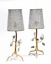 BG ÉLIZABETH GAROUSTE (NÉE en 1949).& MATTIA BONETTI (NÉ en 1952).BAGUÈS. A pair of wrought iron, gold leaf and crystal pearl table lam