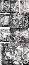 Vik Muniz (né en 1961).CÁRCERE, A Partir de Piranesi, 2002. Complete set of eight chromogenic prints.Signed and dated on a studio label