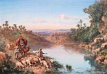 PAUL PASCAL (1832-1903) CARAVANIER ET BERGER AU BORD DE L'OUED SHEPHERD BY THE RIVER Gouache sur papier signé et daté