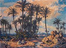 LOUIS JOHN ENDRES (1896-1989) LA HALTE À L'OASIS REST AT THE OASIS Huile sur toile signée et située