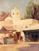 THÉODORE CHARLES BALKE (1875-1951) MARCHÉ À TUNIS MARKET IN TUNIS Huile sur carton signé, situé