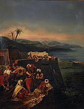 ƒÉCOLE ORIENTALISTE (XIXeSIÈCLE) GUERRIERS DANS LE FORT WARRIORS IN THE FORT Huile sur toile