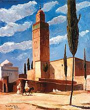 GASTON VENTRILLON LE JEUNE (1897-1982) LA KOUTOUBIA, MARRAKECH MARRAKECH, THE KOUTOUBIA Huile sur toile signée en bas à gauche, situ...