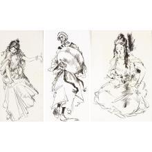 JEAN GASTON MANTEL (1914-1995) DANSEUSE DE GUEDRA, MUSICIEN ARABE, MAROCAINE AUX BIJOUX GEDRA DANCER, ARAB MUSICIAN, GIRL FROM MOROC...