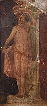 FRAGMENT DE PEINTURE MURALE DÉTACHÉE Pigments sur enduit représentant une canéphore en pied contre une colonne. (Cassures et restaur...