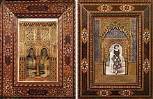 DEUX MAQUETTES DE FAÇADE DE L'ALHAMBRA l'une en stuc polychromé, à arcature surmontée de deux fenêtres. Inscrite