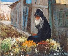 NICOLAS GROPEANO (1866-1936) LE MARCHAND DE FRUITS THE FRUITS TRADER Pastel sur carton épais, signé en bas à droite