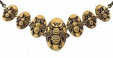 JOSEFF OF HOLLYWOOD ANNÉES 1940 COLLIER AUX ABEILLES en métal patiné bronze à décor d'abeilles au naturel. Signé JOSEFF Dimensions :...