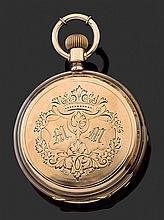 ANONYME ANNÉES 1900 Montre de poche savonnette en or rose 14K