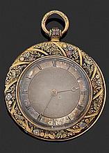 ANONYME PREMIERE MOITIÉ DU XIXÈME SIÈCLE Large montre de poche plate en or jaune ornée d'un décor entièrement émaillé de motifs flor...