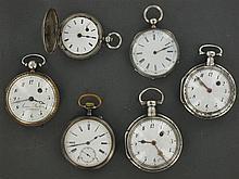 ENSEMBLE DE 6 MONTRES DE POCHE Dont 5 en argent. Vers 1800. Une signée Arsène Barbier. Une montre de poche en laiton avec mouvement ...
